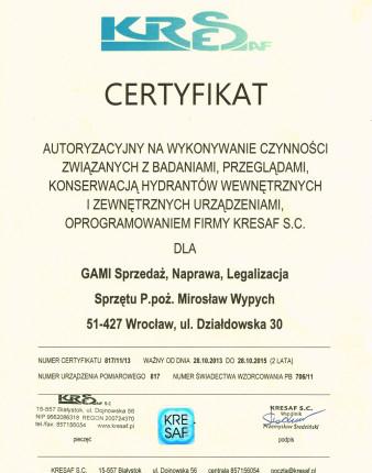 Certyfikat--Hydranty